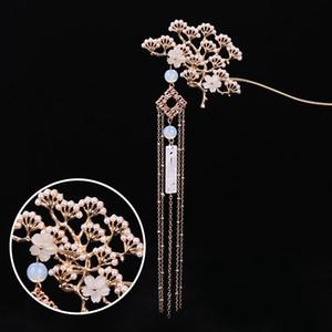 FORSEVEN Klasik Çiçek Simüle İnciler Püskül Saç Çubuk Çince Geleneksel Firkete Şapkalar Gelin Saç Aksesuarları JL