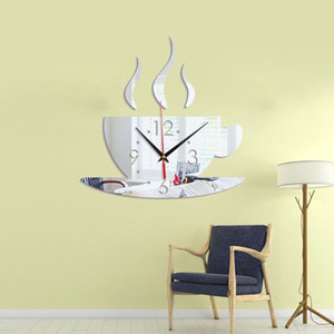 Coffee-Cup-Pattern Wall Clock Modern Decorative Clocks With Adhesive Tapes For Home Kitchen Living Room QX2E