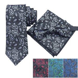 Paisley самостоятельной Bow Tie Handkerchief Set Мода Классического Мужчина галстук Классического Галстук Платок венчание партия бабочка костюм Set