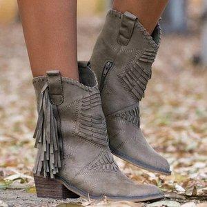 Nice, New Boho Rebanho de couro mulheres botas Fringe planas Salto Mulher Med Alto Sólido Mulher Botas Tassel Botas Mujer Botte Femme