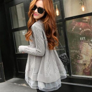 Spring Korean Style Womens Long Thin O neck Base Loose Sweater Lace Jacket Drop Shipping Good Quality