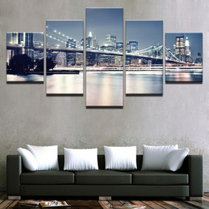 Canvas Paintings Living Room Decor Prints Posters 5 Pieces Beautiful Brooklyn Bridge City Night View Pictures Wall Art No Frame