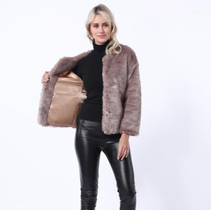 Fur Coats Outono Inverno New Arrival Crew Neck Jacket Quente Fashion Designer Mulheres Coats Moda Mulheres Faux