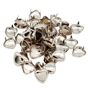 50Pcs DIY Love Heart Metal Rivets Claw Studs Bags Clothes Hats Leather Decor