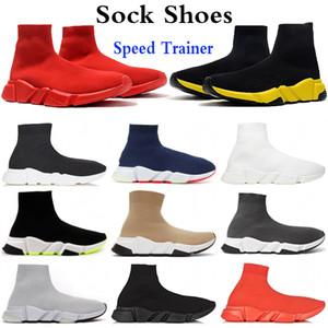 Top calzino scarpe Speed Trainer partito Porm bianche scarpe piattaforma Red nero triple giallo blu beige volt moda Oreo uomini donne tennis casuali