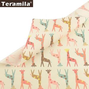 Teramila Fat Quarters 100% hoja de cama de la tela de algodón de la jirafa Diseño Paño de bricolaje remiendo que acolcha Almohada Para Bebé de costura Inicio