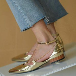 Golden Women&#39s Shoes Spring Pointed Toe Flat Bottom Single Shoe Shallow Mouth Ankle Strap Low Heel Mary Jane Flats Women&#39