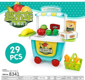 Pretend Play Toy Set BBQ Ice Cream Cart Shop Small Supermarket House Baby Home Simulation Mini Trolley Car Kids Toys