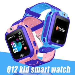 Q12 Kids Smart Watch LBS SOS Waterproof Tracker Smart Watch for Kids Anti-Lost Support Card Card متوافق لنظام Android مع صندوق البيع بالتجزئة