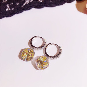 Hot Sale Three Colors Diamond Crystals Women's Charm Earrings Fashion Square Zircon Earrings Female Jewelry Accessories