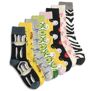 Men Sock Funny Cartoon Whale Fish Lemon Lollipop Smiling Face Zebra Stripes Happy Male Street Harajuku Hip Hop Skate Cotton Sock