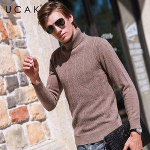 Ucak Marke Pullover Männer Turtlemen 2020 neue Ankunfts-Steetwear Striped beiläufige Herbst reiner Merinowolle Pullover Warm Pullover U3154