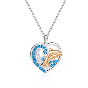 Cristallo delfini collane del pendente Sea Turtle per le donne di colore Blue Silver Tortoise Collana di Ocean Beach Collares Dichiarazione gioielli