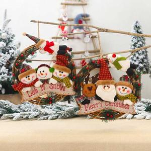 Christmas Decoration Window Santa Claus Doll Decoration Rattan Wreath Christmas Tree Family Pendant Window Props
