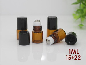 1мл 2ML Roll-On Empty Bottle Glass Clear Amber Brown Цвет Rollon металла роллер бутылки Essential Fragrance Oil Liquid