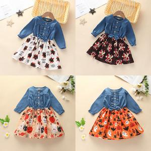 Halloween agradecimento vestido baby girl botão manga longa arco denim Patchwork vestidos Turquia abóbora vestido de impressão boutique crianças vestuário M2499