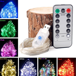 Christmas light 5 10m Waterproof Remote Control Fairy Lights Battery USB Operated Decoration 8Mode Timer LED String Copper Wire