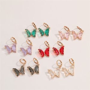 10Pairs Lot European Fashion Butterfly Ear Clip 6 Colors Crystal Earring Women Brand New Copper Dangle Earring Jewelry Accessories