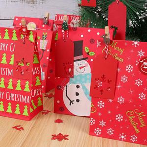 Weihnachten Kraft Paper Geschenke Taschen Sets Snowman Snowflake Zahlen gedruckt Aufbewahrungstasche Designer Fashion Pouch Buggy Bag Aufkleber Anzug D91708
