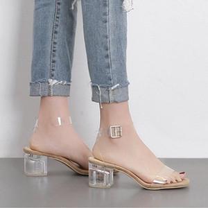 Transparente Sandalen für Frauen 2020 Sommer-Block-Absatz-Schuhe Weiblich Luxus Klar Heels Kleid Schuhe mit niedrigem Absatz Sandalen Striptease