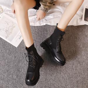 estilo versátil coreana otoño cargadores de Martin Ligera Flying tejer 4 cm de tacón bajo las botas cortas de cuero genuino de las mujeres zapatos