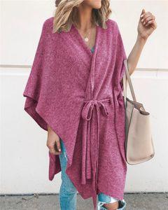 Neck Capes Modefarben Batwing Sleeve Cardigan Cape mit Gürtel Lässige Bade Foulard Womens Designer V