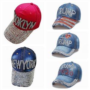 Trump Baseball Cap Hat USA 2020 Président Élection Cowboy Diamant Cap snapback réglable unisexe Denim diamant drapeau américain Chapeau LJJP392