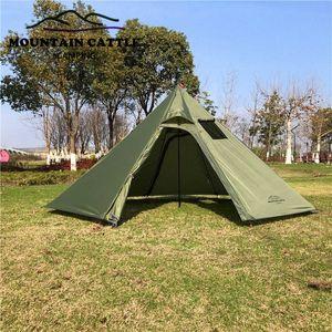 3-4 Persona Ultralight di campeggio esterna della Grande Piramide Teloni riparo della tenda con camino foro per il bird watching Cooking OqTb #