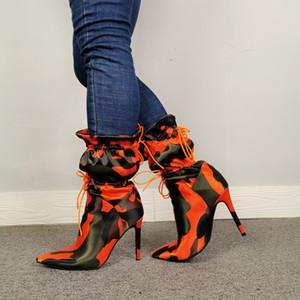 Kadınlar Stilettos Moda Kamuflaj Bilek Boots Kadın Lace Up Seksi Şık Gece Kulübü Ayakkabı için yüksek İnce Topuklar Boots Kış dize basit bir çizimdir