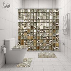 NYAA 4 قطع الفسيفساء الديكور دش الستار الركيزة البساط غطاء غطاء المرحاض حصيرة حمام حصيرة مجموعة للديكور الحمام Y200407