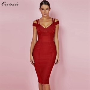 Ocstrade New Women Bandage Dress 2020 Summer Sexy Bandage Off Shoulder Sexy High Quality Wine Red Bandage Dress Rayon Plus Size 0921
