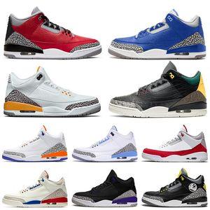 2020 zapatos de baloncesto del Mens del diseñador Nueva calidad del cemento III Red UNC Varsity Royal láser Orange Jumpman Knicks compite con los zapatos de deporte Formadores