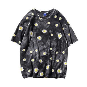 Januarysnow Abbindebatik Daisy Printed Straße T-Shirt Mann-Sommer-Rundhalsausschnitt-Hip Hop-T-Shirt aus Baumwolle T Shirts Street Kleidung
