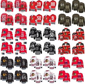 Пользовательский Чикаго Блэкхокс Джерси 9 Бобби Халл 88 Патрик Кейн 19 Тэйвза 12 DeBrincat 50 Crawford 64 Keith Д Sharp Flag Хоккей