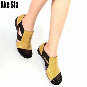 Ake Sia-Pack Runde Toed Strass Adorn Frauen-Dame Fashion aushöhlen Elastic Band Sandalen Casual Keilabsatz Sandalen Schuhe A371 DByF #