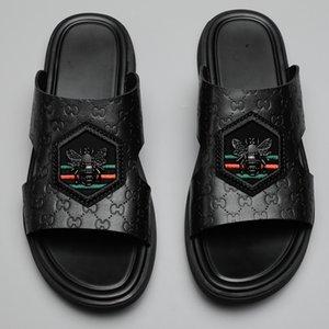 Drôle Sandales en cuir véritable Chaussons Hommes 2020 Marque d'été Plage confortable pantoufle homme Slipers Casual extérieure Diapositives