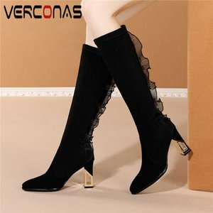 VERCONAS Kid Suede Knee-High Boots For Women Autumn Winter Long Shoes Woman Fashion Concise New Lace Ruffles Thick Heels Boots