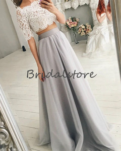 Country Style Two Piece Wedding Dresses Silver Crop Top Lace Short Sleeve Bohemian Wedding Dress 2020 Cheap A Line Full Length Tulle Bride