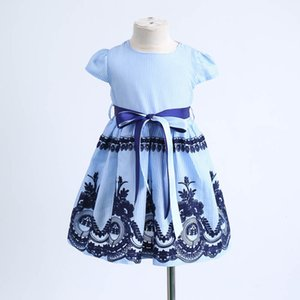 Clearance Excelent New summer Mesh Toddler Kids Baby Girls Clothes Stripe Floral Embroidery Party Princess Dress Z0205