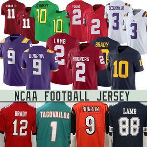 NCAA LSU 9 جو الجحر توا Tagovailoa توم برادي CeeDee حمل كرة القدم JerseysRob Gronkowski سونرس قرمزي كلية جيرسي.