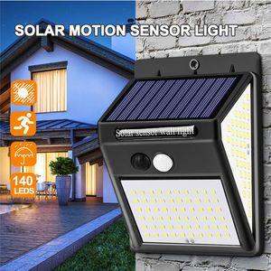 ile LED Güneş Işık Güneş Enerjisi Açık PIR Hareket Sensörü Duvar Işık 3 Modları 140 LED'ler Yolu Bahçe Dekorasyon Lambası