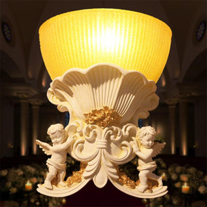 Angel Baby Resin Wall Lamps European Balcony Bedroom Bedside Lamp Aisle Living Room Decorative Wall Sconces Lights Fixtures
