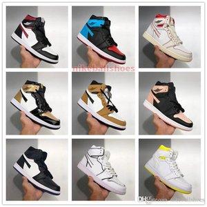 Kutu Basketbol ayakkabı mağazası US4-11 ile satışa 2020 jordon 1 Yüksek Orta OG SE pembe Black Gold Bred Burun Sanded Mor Womens çocuk ayakkabıları