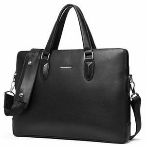 Bostanten couro genuíno Laptop Briefcase Masculino Shoulder Bag 15 Inch Homens Pasta Bolsa de Negócios Men Crossbody Tote Handbag t4lL #