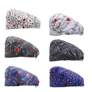 Unisexe Cap Mode Imprimé Bouton travail Pharmacie Clinique Casquettes ajustables Lab salon de beauté Chapeau Opération des casquettes de soins infirmiers
