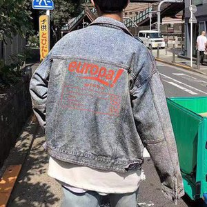 19SS Orange Letter Printing Blue Denim Shirt Jacket Single Breasted Casual Jackets Fashion Outerwear Men Women Couple Jackets HFHLJK047