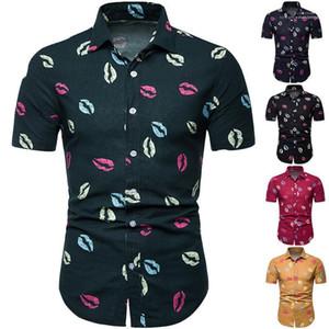 Lip Printed Short Sleeve Tees Fashion High Street Tees 5XL Mens Hawaii Style Polo Summer