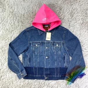 Broderie rouge à capuchon Veste en denim femmes 1 de haute qualité Slim-Fit Manteau Cowboy Bleu Jean