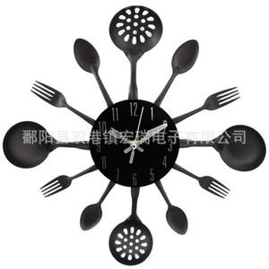 Mediterranean Style Kitchen Spoon Fork Clock Silent Wall Clock Living Room Decor Home Decoration WJ815