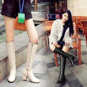 2020 Fashion Knee High Boots Women Pu Leather Thick High Heels Long Boots Autumn Winter Zip Female Shoes Size 32-43 botas mujer